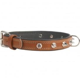 Collar SOFT Coleira de Couro c/ decor. metalicas L35mm C46-60cm