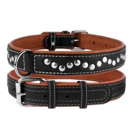 """""""CoLLaR SOFT"""" Coleira de couro com decorações metalicas exterior negro (largura 25mm, comprimento 38-49cm)"""